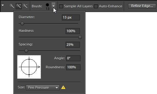 Using the Quick Selection tool and the Selection Brush tool Use the Quick Selection tool to paint a selection quickly with an adjustable round brush tip.