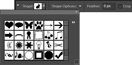 Using the Cookie Cutter tool The Cookie Cutter tool creates the same shapes as the Custom Shape tool, but is designed to crop a portion of a photograph in the selected shape.