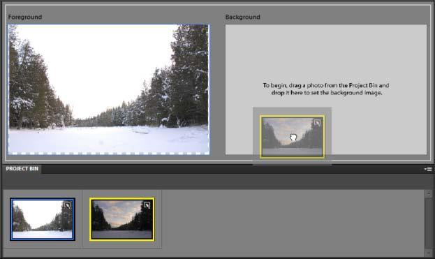 To create a Photomerge Exposure merge manually: 1. Select two images in the Bin or the Organizer. 2. Choose File > New > Photomerge Exposure.