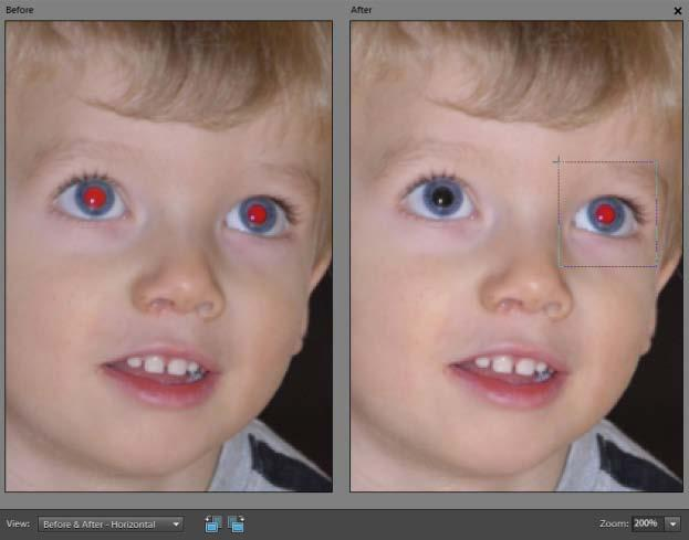 This problem is even more common with digital cameras because the flash unit is so close to the lens. Removing red eye is extremely simple with Photoshop Elements. To remove red eye: 1.