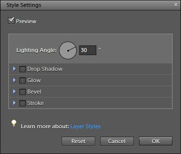 To change text appearance with layer styles: 1. Select the text s layer (Figure 9). 2. Choose Layer > Layer Style > Style Settings.