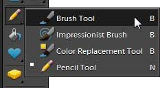 How to draw You can use the brush tools the Pencil tool, Brush tool (Figure 1), and Pattern Stamp tool to draw lines or paint areas. Photoshop Elements gives you a wide set of options for brush tools.