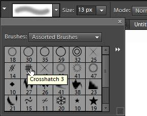 You access these through the Brushes menu. To use brush tips: 1. Open a new document in Photoshop Elements. 2. Select the Brush tool (Figure 1). 3.