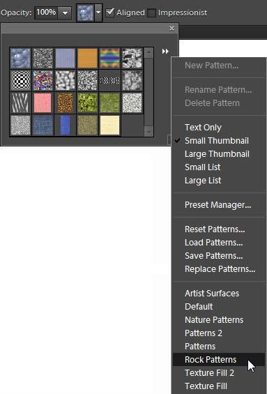 Using the Pattern Stamp tool With the Pattern Stamp tool, you can paint patterns onto an image, choosing from a variety of patterns. To use the Pattern Stamp tool: 1. Select the Pattern Stamp tool.