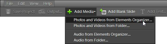 The photos appear in the Slide Show Editor. You can use the options in the Extras panel to add graphics, text, or audio narration to each slide.