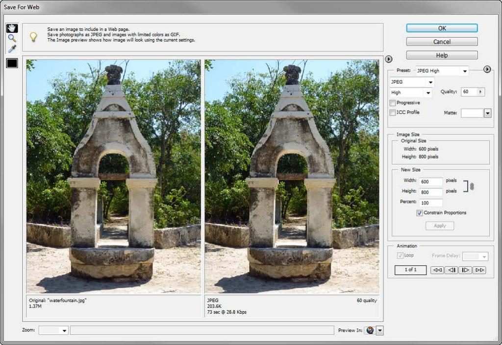 Saving for the web from within Photoshop Elements Photoshop Elements provides two options for exporting images for use on the Web: In the Save For Web dialog box, you can preview images and specify
