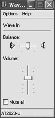 Adjust computer volume by clicking on the Volume button beneath Sound recording Default device. ATR2100-USB 7.