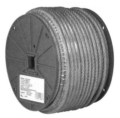 Wire Rope Length Per Minimum Breaking Approx. Weight No. Size Reel Strand Finish Strength (Lbs.) per 100 ft. (Lbs.) /ORG0110395 1/8 500' 7 x 7 Electro-Galvanized 1,700 2.
