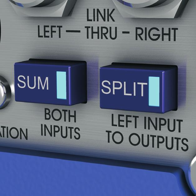 Input Summing and Output Splitting DN200 offers two flexible signal routing options, in Sum mode both inputs are summed at -6 db to maintain the overall signal level and are routed to the left output.