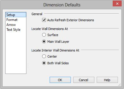 Home Designer Architectural 2015 User s Guide 2. Review each of the panels and settings available for setting up your Dimension Defaults. 3.