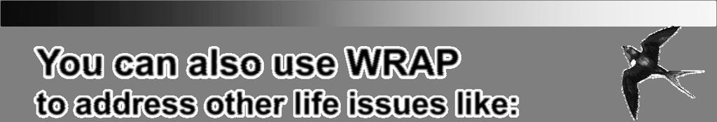 You can also use WRAP to address other life issues like: Chronic or acute illness Addictions Breaking bad habits Losing weight