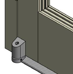 Adjust the door clearance by turning the pivot pin clockwise to lower the door and counterclockwise to raise the door.