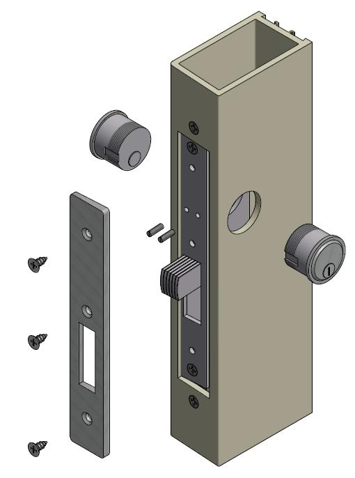 Deadbolt example shown below. 1. Attached FM83/HM93 clip to lock assembly.
