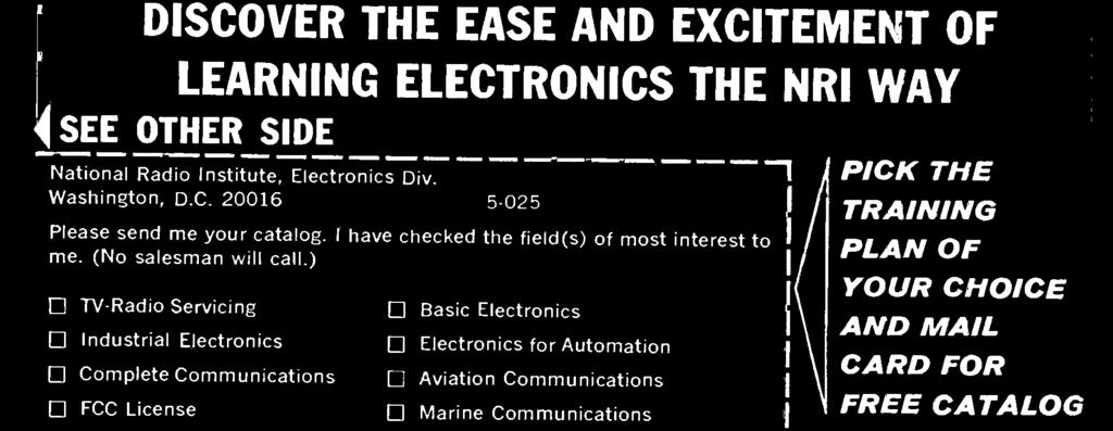 Electronics subjects. Check the postage-free card below, fill in and mail.