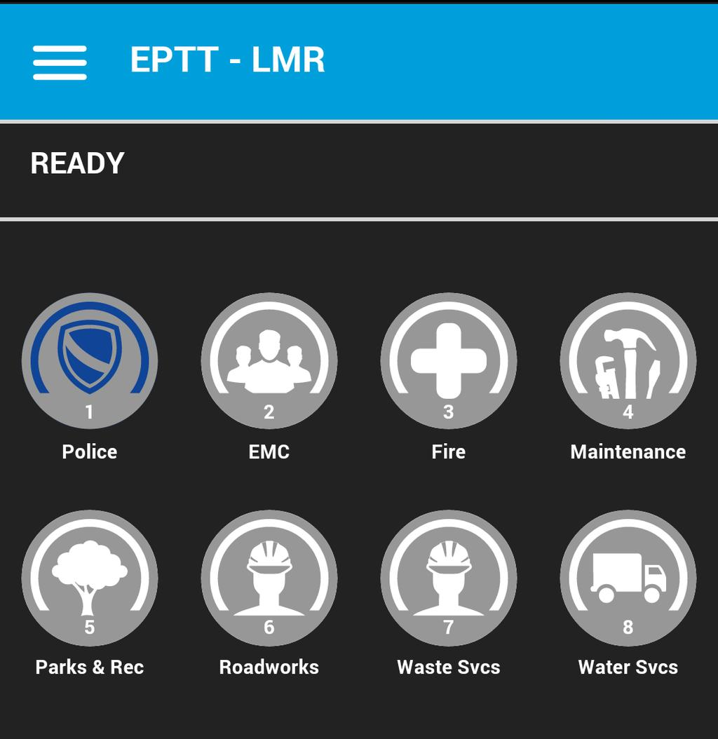 Navigate the LMR Version of the EPTT Application 5 To Manually Login to the EPTT Application 1. Tap on the Enhanced Push-to-Talk icon under Apps.