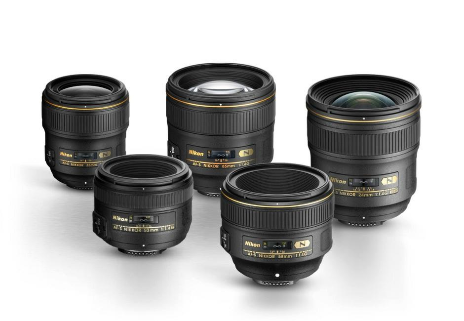 powerful VR and at significantly lower cost than the f/2.8 version. Nikon f/1.4 prime lenses (clockwise from top left) AF-S NIKKOR 35mm f/1.4g, AF-S NIKKOR 85mm f/1.4g, AF-S NIKKOR 24mm f/1.