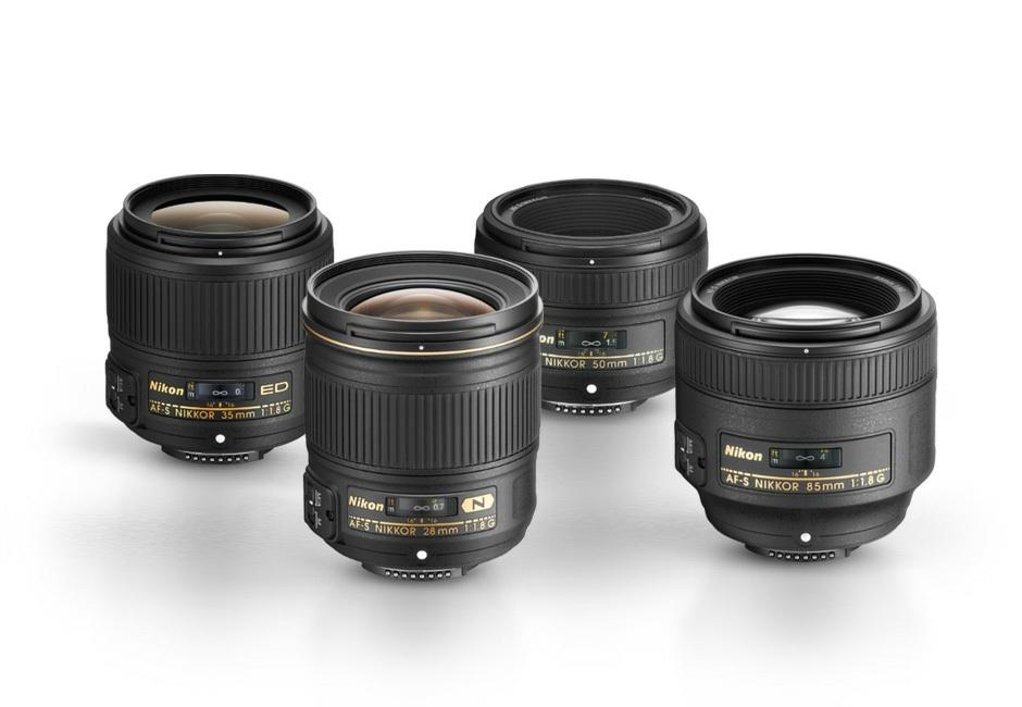 Nikon f/1.8 prime lenses (l. to r.) AF-S NIKKOR 35mm f/1.8g ED, AF-S NIKKOR 28mm f/1.8g, AF-S NIKKOR 50mm f/1.8g and AF-S NIKKOR 85mm f/1.8g. You ve likely noticed the pattern in these prime lens selections they are all f/1.