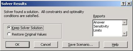 11. When finished adding constraints, click OK. You are returned to the Solver Parameters dialog box. The constraints display in alphabetical order. 12. Click Solve.