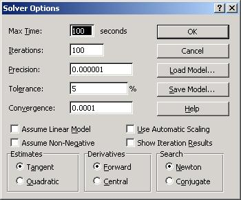 4 Linear Models You can set Solver to assume a linear model option.