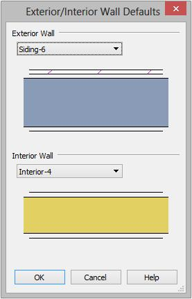 "Setting Defaults 2. For this tutorial, select ""Stucco-6"" from the Exterior Wall drop down list and click OK."