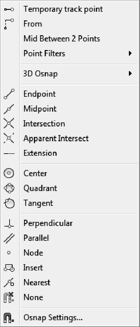 Residential Design Using AutoCAD 2013 The Tab key cycles through the available snaps near your cursor. The keyboard shortcut turns off the other snaps for one pick.