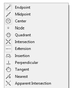Crash Course Introduction (the Basics) 3. Right-click on the OSNAP button on the Status Bar and select Settings from the pop-up menu (Figure 2-2.4). FIGURE 2-2.