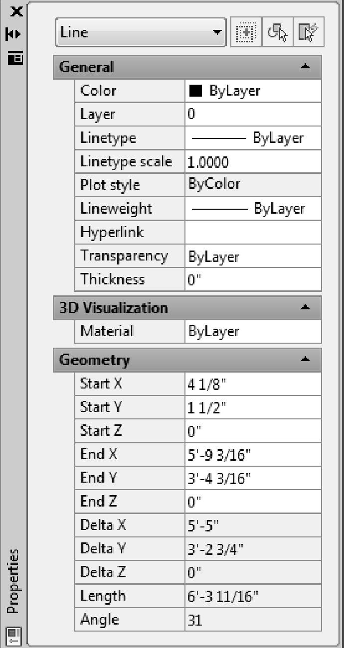 Residential Design Using AutoCAD 2013 You should now see the line s properties. Notice the textbox at the top now indicates what type of object is selected (Figure 2-1.7).
