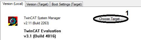 Advanced system characteristics Select target system Target system available in selection list In the System Manager select the