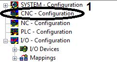 Advanced system characteristics Create CNC axis configuration Right-click on CNC Configuration (1) in the System Manager.