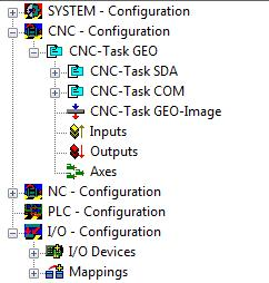 The logical CNC axes can now be added below the Axes icon. Right-click on Axes within the axis configuration. Select Append Axis. Select the axis type from the list.