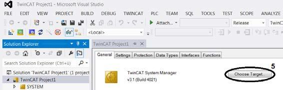 Advanced system characteristics Select target system Target system available in selection list In order to control your drive with TwinCAT, the software needs to communicate with the hardware.