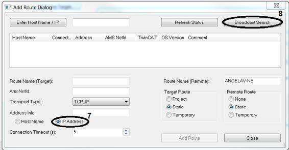 Advanced system characteristics Before starting the search for more target systems, set the IP address as Address Info