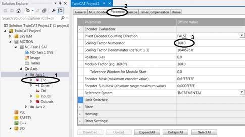 Advanced system characteristics Specifying velocities Checking the scaling factor In the Solution Explorer, open Motion NC-Task 1 SAF Axes Axis 1 Enc (1). Open the Parameter tab (2).