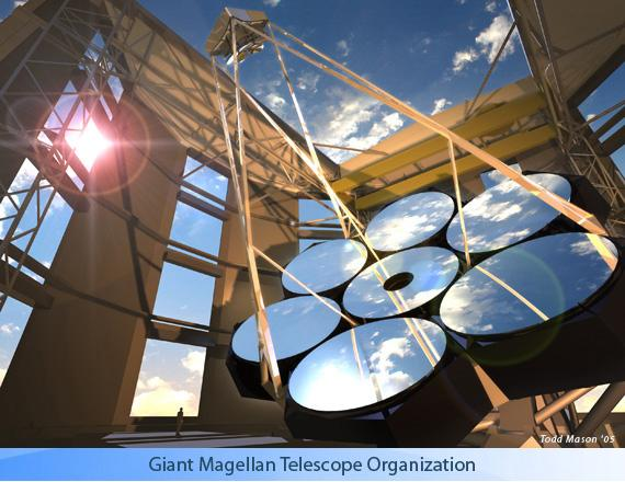 1.3. The giant telescopes era (E-ELTs) Figure 1.8: A design of the GMT: the primary segmented mirror is composed by 7 segments, and the secondary one is also composed by composed by seven segments.