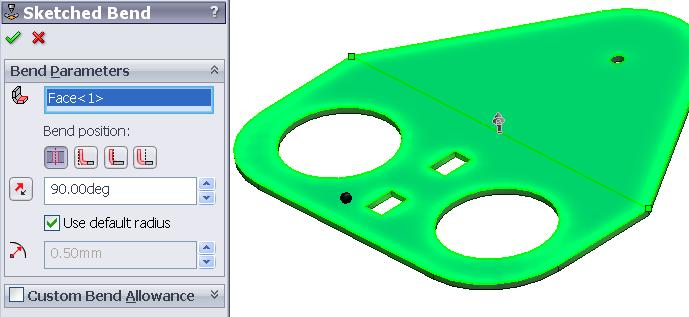 bending process Select Material Inside as the