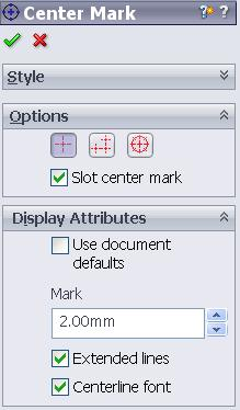 Centre Marks must be added to all the circles in the various views Choose Center Mark Toolbar.