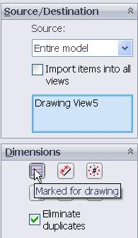 will be added as shown Adding Dimensions While dimensions can be added to all the views, they will only be added to the flat pattern view in this case Select
