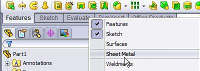 Getting Started In order to begin working with Sheet Metal you must first activate the sheet metal tab on the command manager.