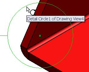 Editing the radius Hold and drag the circumference to