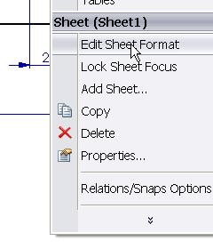 Editing the title block Right click on a clear area of the drawing sheet Select