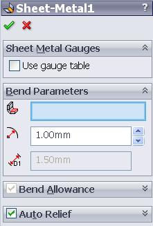 When a base flange feature is created a number of items are added to the feature manager design tree. Sheet-Metal1: is automatically added above the Base flange feature.