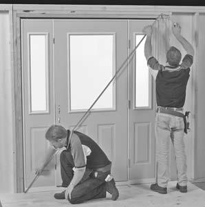 Door Installation (cont.) FIGURE 5 5A 4. With door held securely in place, measure diagonally from corner-to-corner in both directions (FIGURES 5 & 5A). Measurements should be exactly the same.