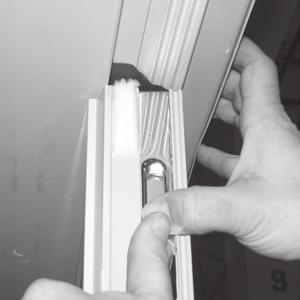 2. Place a light pencil mark on the head and sill to show the inactive panel s edge. 3.