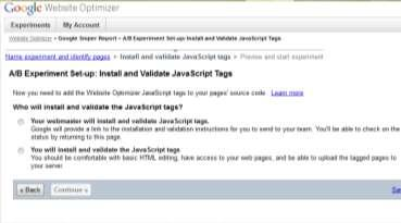 8. In the page that will come up next you will see the snippets of Javascript code that you need to place on your page, test page and conversion page.