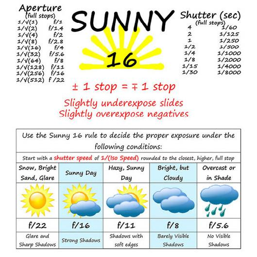 Aperture & stop Worksheet 11 Name: Sunny 16 Rule 1/ @ 16 on a sunny day between 9 a.m. and 3 p.m. (3 hrs.