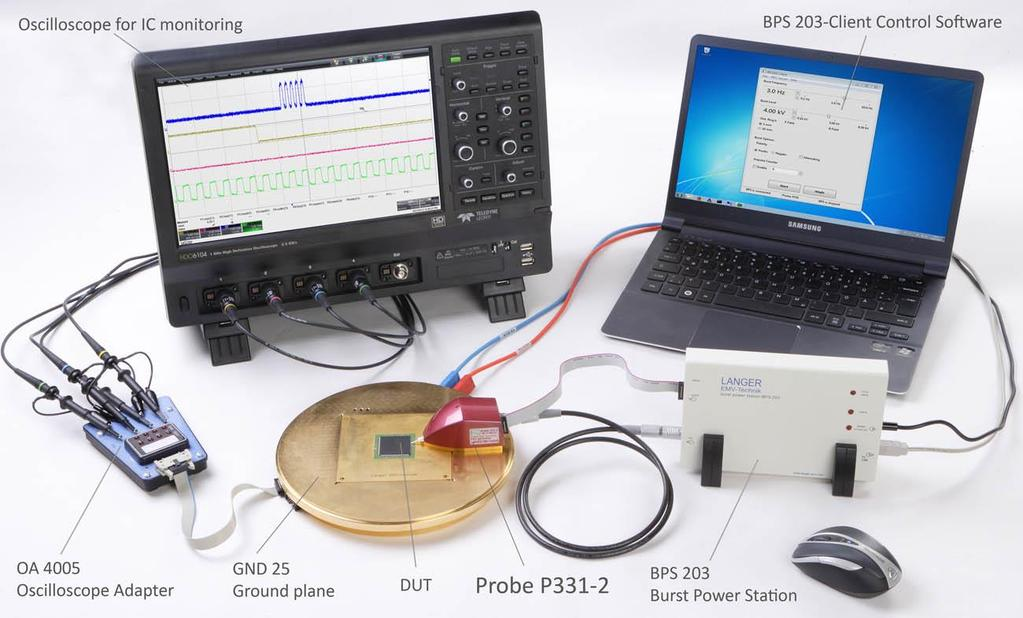 Figure 5 Test set-up with the probe set and ICE1 test bed The devices listed in the table are described in their respective operating instructions: Task Instructions for the development of the test
