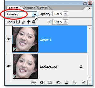 "Step 2: Change The Blend Mode Of ""Layer 1"" to ""Overlay"" With ""Layer 1"" selected in the Layers palette (the currently selected layer is highlighted in blue), go up to the layer blend mode option in"
