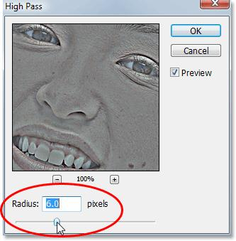 preview area in the dialog box, you'll see more and more areas of the image become affected by the filter, starting with only the finest details and then gradually expanding to include more and more