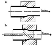 There are three basic types of tube drawing processes consist of tube sinking, plug drawing (fixed plug and floating plug) and moving mandrel drawing which are shown in Figu