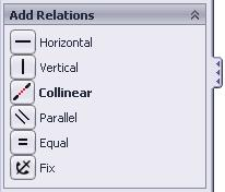 6. Adding a Collinear relation**: - Select the Add Relation command again. - Select the 3 lines as shown below. - Click Collinear from the Add Geometric Relations dialog box. - Click OK.